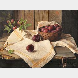 Lodewijk Karel Bruckman (Dutch/American, 1913-1980)      Still Life with Plums