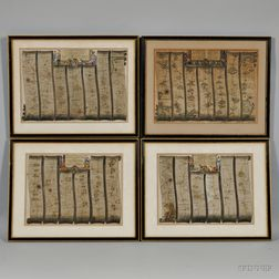 The Road From London to Lands End,   John Ogilby (1600-1676) Four Framed Maps.