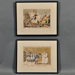 Two British Satirical Napoleonic Prints:      William Holland (1757-1815), publisher, Moreau's Arrest and Buonaparte's Innocence!!