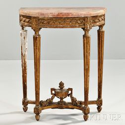 Louis XVI-style Marble-top Giltwood Table