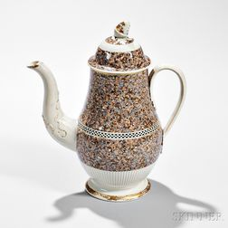 Pearlware Surface Agate Coffeepot and Cover