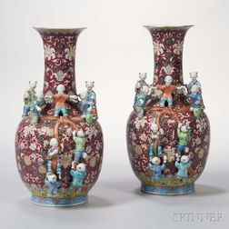 Pair of Famille Rose Figural Vases