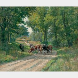 William John Whittemore (American, 1860-1955)      Cows Grazing by the Farm Road