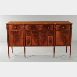 Carved Mahogany and Mahogany Veneer Inlaid Sideboard