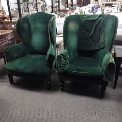 Two Upholstered Mahogany Easy Chairs
