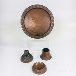 Arts and Crafts Repousse and Hand-hammered Copper Smoking Set