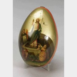 Russian Red Lacquer and Enamel Decorated Easter Egg