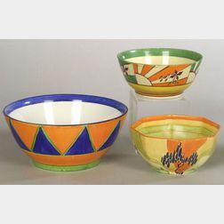 Three Clarice Cliff Bizarre Ware Bowls