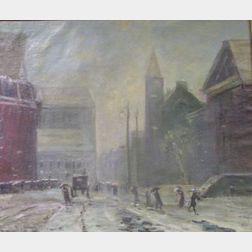 Framed Oil Winter City Street Scene