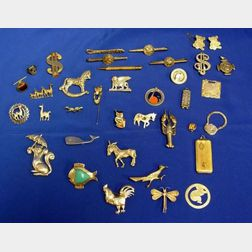 Group of Silver Animal-form Pins and Assorted Novelty Jewelry