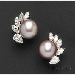 Platinum Freshwater Pearl, and Diamond Earclips