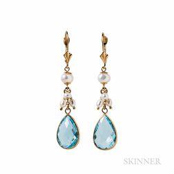 14kt Gold, Blue Topaz, and Pearl Earrings