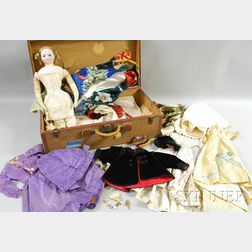 Large French Fashion Doll, with Clothes, Shoes, and Accessories