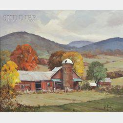 Otis Pierce Cook, Jr. (American, 1900-1980)      Red Barn in Autumn