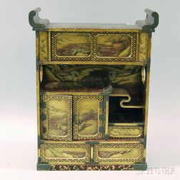 Gilt-decorated Red and Black Lacquer Valuables Cabinet