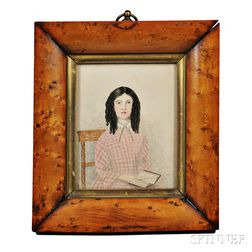 American School, Early 19th Century      Miniature Portrait of a Dorset, Vermont, Girl Holding a Book
