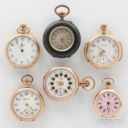 Six Lady's Open Face Pocket Watches