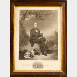 Framed Coats & Cosine Lithograph of Henry Clay