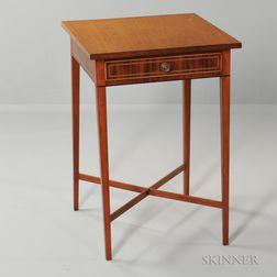 Cherry and Mahogany Veneer Inlaid One-drawer Stand