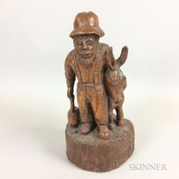 Carved Maple Figure of a Man with Mule