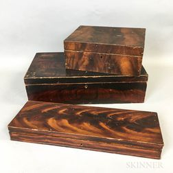 Three Grain-painted Wood Boxes