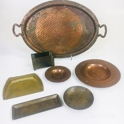 Seven Arts and Crafts Copper and Brass Items