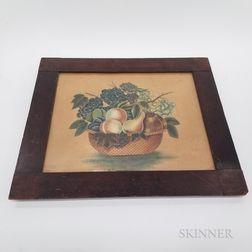 Framed Watercolor Theorem of a Basket of Fruit