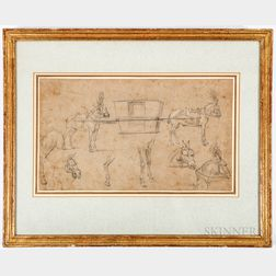 Continental School, 19th Century      Study of Horses and Carriage.