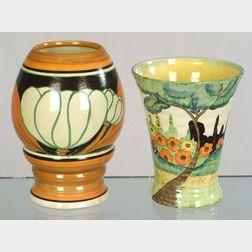 Two Clarice Cliffs Bizarre Ware Vases