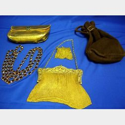 Three Purses and a Long Amber Cut Glass Bead Chain