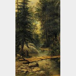 Henry A. Duessel (American, 19th/20th Century)      The Footbridge Over the Woodland Brook