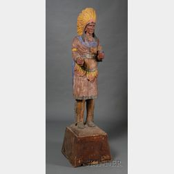 Carved and Polychrome Painted Wooden Indian Tobacconist Figure