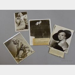 Four Jean Harlow MGM Publicity Press Still Photographs with Typed Press Snipes