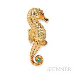 18kt Gold Gem-set Seahorse Brooch