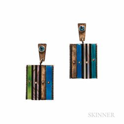 Earl Pardon Sterling Silver and 14kt Gold and Enamel Earrings