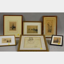 Six Framed Works on Paper:      George Wainwright Harvey (American, 1855-1930), Four Etchings of Ships