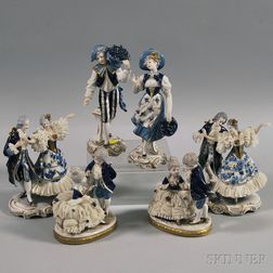 Three Pairs of Dresden Porcelain Figures