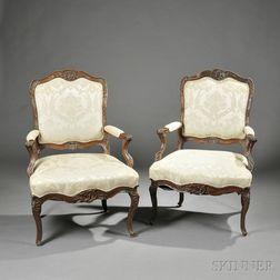 Pair of Louis XV Beechwood Fauteuil