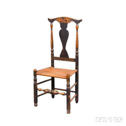 Queen Anne Black-painted Maple Side Chair