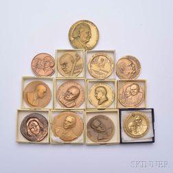 Thirteen Assorted Bronze Medals