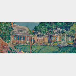 """Rutherford Boyd (American, 1884-1951)      Garden View, Possibly the Artist's Home, """"Boyd's Nest,"""" in Leonia, New Jersey"""