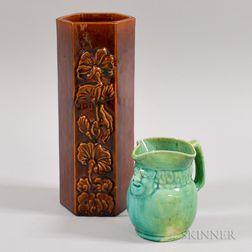 Clara L. Poitton Pottery Toby Jug and a Haeger Art Pottery Vase