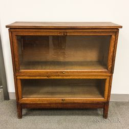 Macey Glazed Oak Two-stack Barrister Bookcase