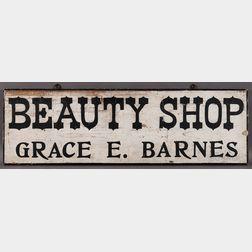 """Painted """"Beauty Shop/Grace E. Barnes"""" Trade Sign"""