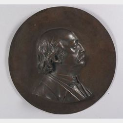 Cast Bronze Portrait Plaque of Civil War Major General Benjamin Butler