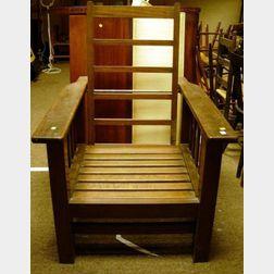 Arts & Crafts Mahogany Slat-sided Adjustable-back Morris Chair.