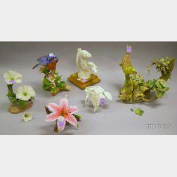 Five Porcelain Bird and Floral Models