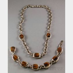 Judith Ripka Sterling Silver and Tiger's-eye Necklace and Bracelet