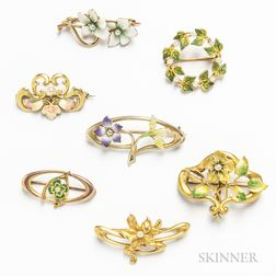 Group of Art Nouveau Gold Floral Brooches