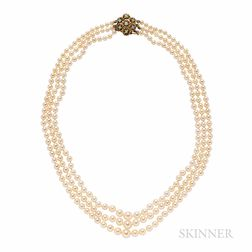 Cultured Pearl Three-strand Necklace
